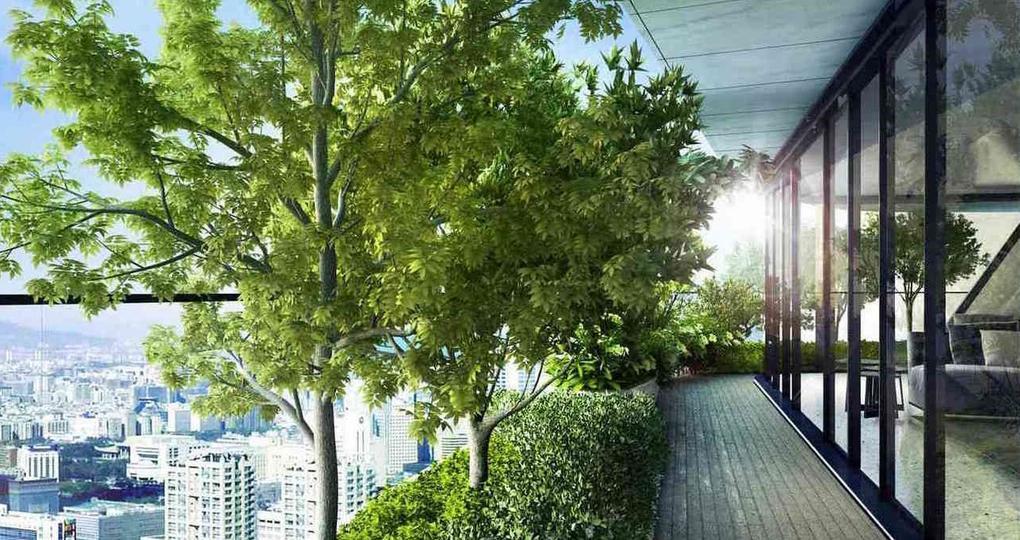 Verticaal groen dorp met shared living en vertical farming