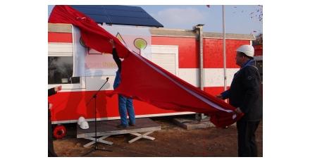 Zonnepanelen op bouwkeet